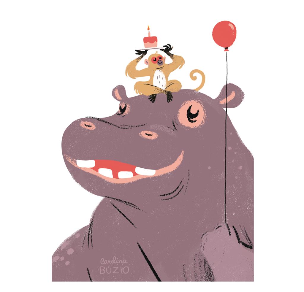 Hip-Hip-Hippo by Carolina Buzio for CardNest